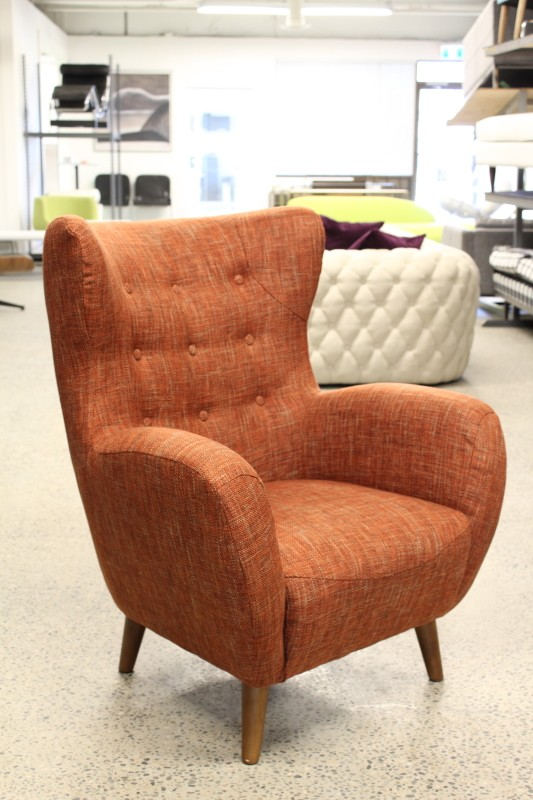 Chair Armchair Modern Lounge High Back Curved Arms Button