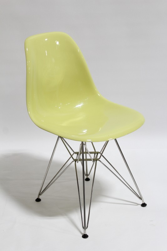 chair side modern style light yellow curved molded seat eiffel style