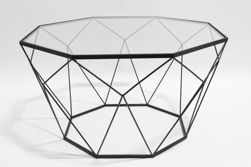 Wire Frame Coffee Table.Table Coffee Table Black Wire Frame W Faceted Geometric Shape Glass