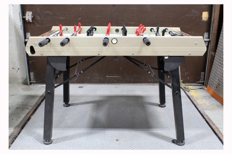 Table, Games, FOOSBALL TABLE WITH RED U0026 BLACK PLAYERS, FOLDING BLACK METAL  LEGS
