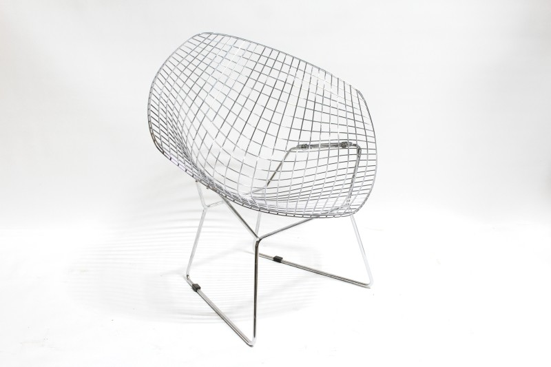 Chair Side Modern Grid Of Welded Steel Rods Connected Sled