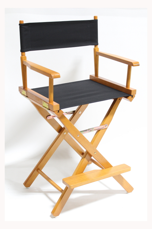 Chair Folding Director Black Canvas Seat Back Oak Frame W