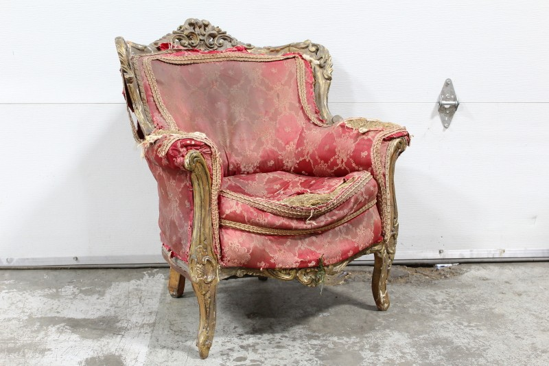 Chair, Armchair, ANTIQUE VICTORIAN ARMCHAIR,ORNATE WOOD FRAME, VERY  DISTRESSED U0026 RIPPED