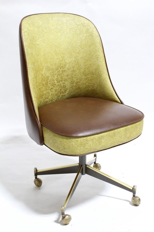 Chair Dining Vinyl Retro Vintage Curved Back Textured