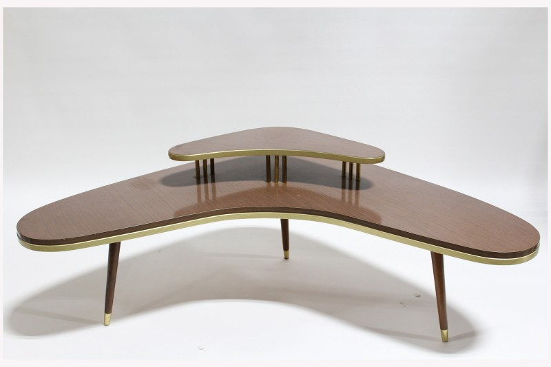 Table Coffee Table Vintage Corner Kidney Boomerang Shape 2 Levels W Smaller Shelf 3 Legs Brass Capped Feet Trim Laminate Brown Vanprop Ca