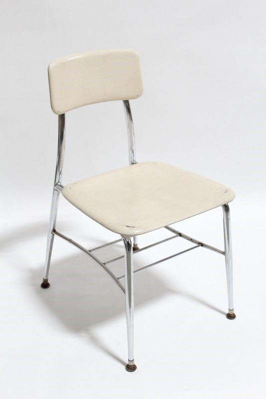 Chair Stackable Vintage Plain Seat Back Metal Legs Plastic