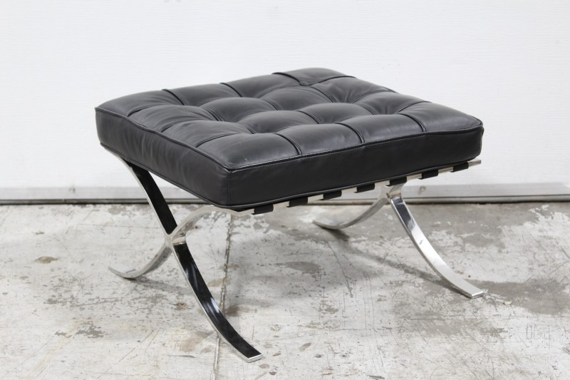 Fantastic Stool Ottoman Modern Tufted Cushion Chrome Legs Leather Theyellowbook Wood Chair Design Ideas Theyellowbookinfo