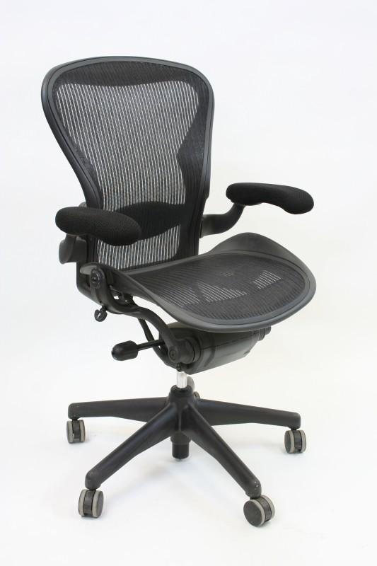 chair office aeron ergonomic woven mesh seat back grey fabric arm