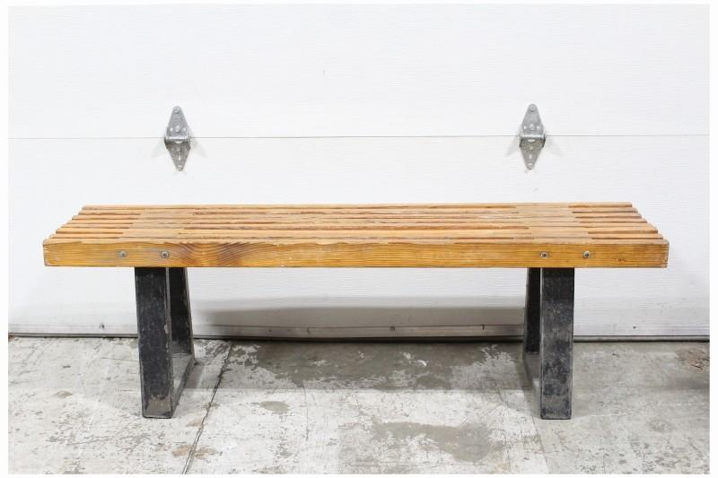 Bench Misc Vintage Wood Slat Top Connected Black Metal