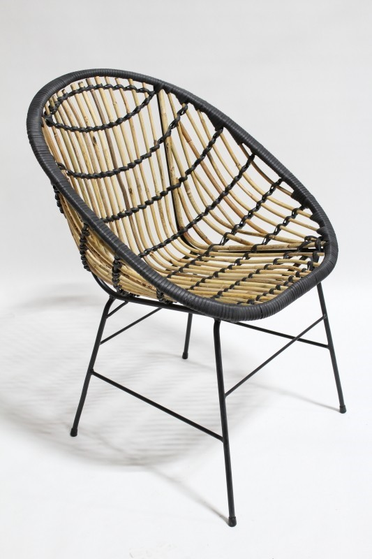 Chair Rattan Modern Indoor Outdoor Wrapped W Black Binding