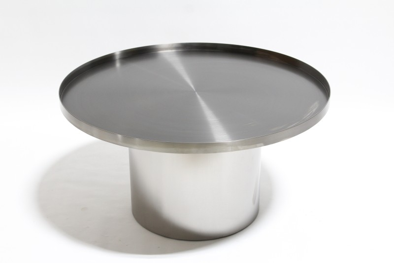 Table Coffee Table Modern Brushed Drum W Round Top W Lip Seamless - Stainless steel table with lip