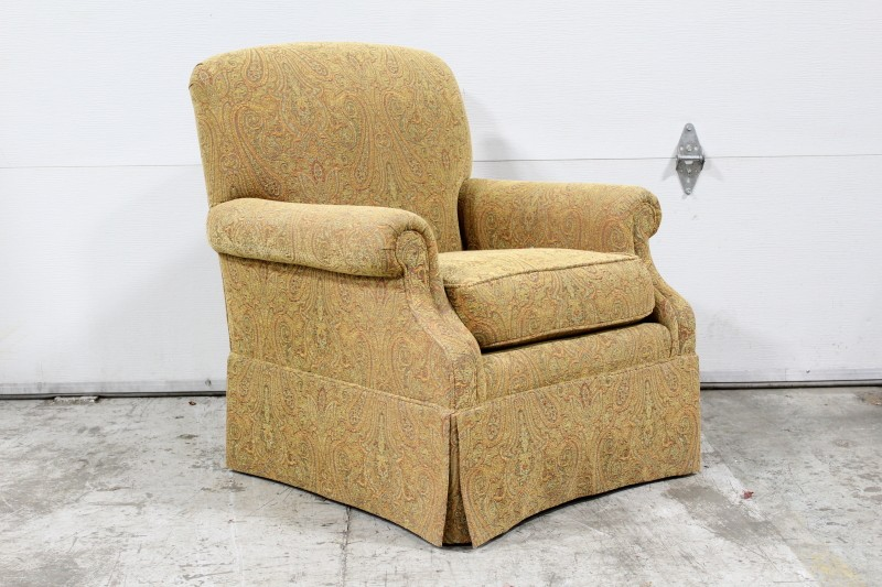 chair armchair roll arm paisley fabric skirted fabric ...