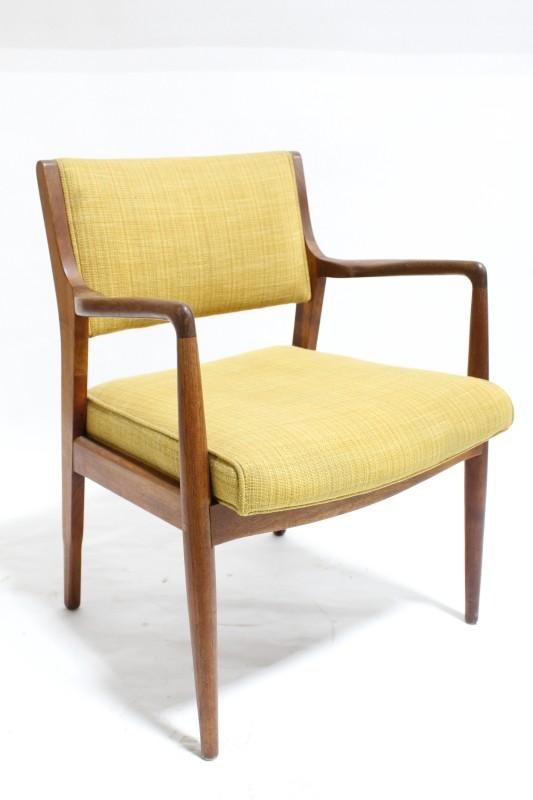 chair client mid century modern teak light yellow textured fabric