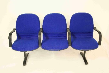Bench, Seats, 3,BLACK PLASTIC ARMS,BLACK METAL LEGS, FABRIC, BLUE