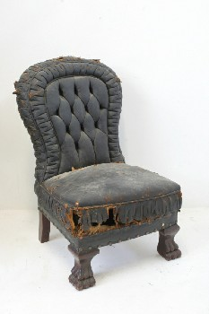 Chair, Misc, ROUNDED BACK,BUTTON TUFTED, RIPPED, AGED, LEATHER, BLACK