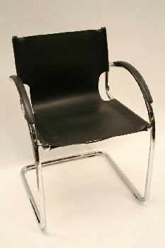 Chair, Client, CHROME TUBE FRAME W/LEATHER CAPPED ARMS, LEATHER, BLACK