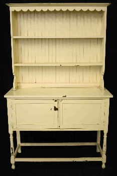Buffet/Hutch, Shelf Top, OAK,2 BOTTOM DOORS,TURNED FRONT LEGS,SCALLOPED TRIM , WOOD, CREAM