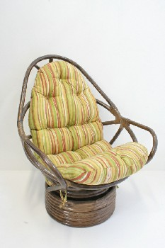 Chair, Misc, CURVED WRAPPED FRAME W/SWIVEL BASE, STRIPED CUSHION , BAMBOO, BROWN