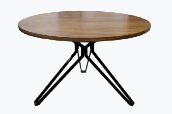 Table, Dining, MODERN, TRIPOD/INDUSTRIAL STYLE LEGS, ROUND BROWN LAMINATE TOP , WOOD, BROWN