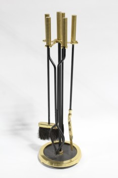 Fireplace, Tool Set, SHOVEL/POKER/TONGS & BRUSH, CYLINDRICAL BRASS HANDLES, ROUND BASE W/BLACK CENTRE, METAL, BRASS