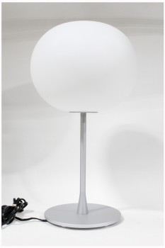Lighting, Lamp, MODERN TABLE LAMP, MATTE WHITE GLASS GLOBE, BRUSHED FRAME W/ROUND BASE, DIMMER, HALOGEN , METAL, WHITE