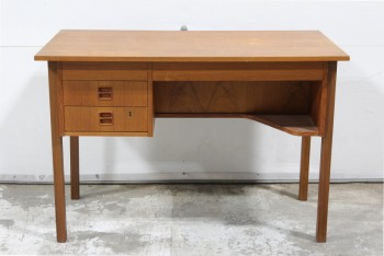 Desk, Wood, MODERN,TEAK,SINGLE PEDESTAL W/2 DRAWERS , WOOD, BROWN