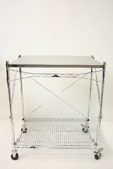 Table, Work, UTILITY/WORK CART W/LOWER RACK,ROLLING, METAL, SILVER