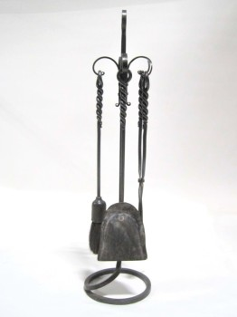Fireplace, Tool Set, SCROLL DESIGN, ROUND BASE, TWISTED HANDLES, BRUSH/SHOVEL/TONGS, IRON, BLACK