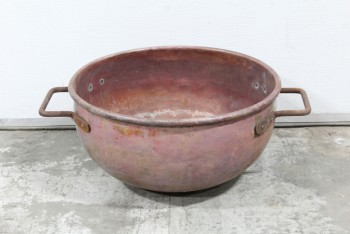 Cookware, Cauldron, 2 HANDLES, ROUND OPEN TOP, FLAT BOTTOM, OLD STYLE, AGED, PATINA, METAL, COPPER