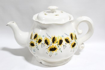 Decorative, Misc, OVERSIZED LIGHTWEIGHT XL TEAPOT W/HANDLE, YELLOW FLOWERS & BEES, PAINTED W/GOLD TRIM, LID COMES OFF, NOT HOLLOW, FOAM, WHITE