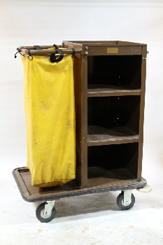 Cart, Cleaning, 4 LEVELS,LOWER OUTER SHELF,YELLOW TRASH BAG, ROLLING, METAL, BROWN