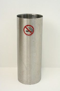 Ashtray, Floor, CYLINDRICAL STAND W/NO SMOKING SYMBOL, METAL, SILVER