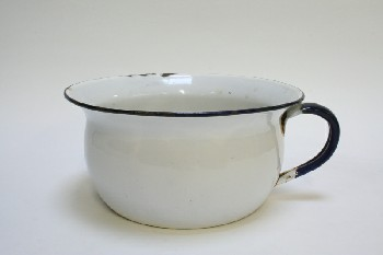 Medical, Container, POTTY/CHAMBER POT,DARK BLUE TRIM & HANDLE, ENAMELWARE, WHITE