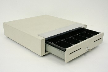 Store, Cash Register, CASH DRAWER,CENTER LOCK W/KEY,2 SLOTS,W/TRAY, METAL, BEIGE