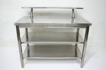 Table, Stainless Steel, 2 LOWER SHELVES W/UPPER HALF SHELF, KITCHEN ISLAND/COUNTER HEIGHT, STAINLESS STEEL, SILVER