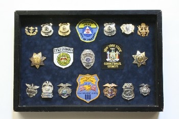 Wall Dec, Shadow Box, POLICE PATCHES & BADGES,BLACK FRAME, WOOD, MULTI-COLORED