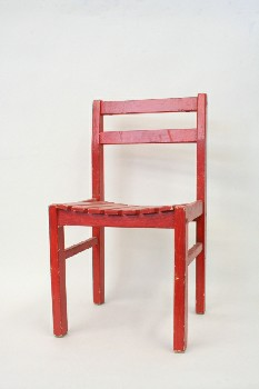 Chair, Child's, SLAT SEAT,HAND PAINTED , WOOD, RED