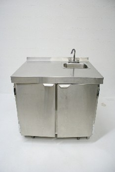 Counter, Misc, SMALL SINK,2 FRONT DOORS,ROLLING, STAINLESS STEEL, SILVER