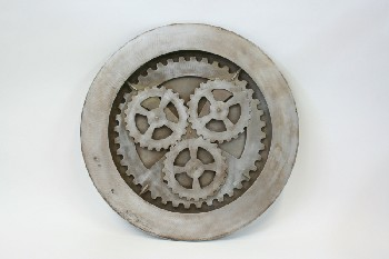 Wall Dec, Shapes , WALLMOUNT CLOCKWORKS/CLOCK FACE W/GEARS (NO ARMS), AGED, WOOD, GREY