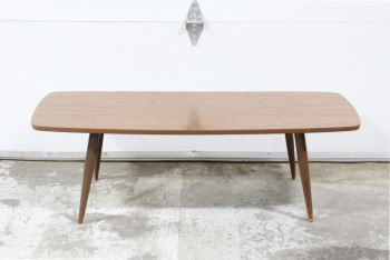 Table, Coffee Table, VINTAGE,MID-CENTURY,ROUNDED RECTANGULAR SURFBOARD STYLE TOP, ANGLED LEGS, LAMINATE, BROWN