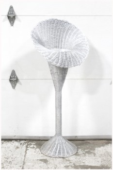 Vase, Floor, FREESTANDING VASE OR FLOWER DISPLAY, TALL TRUMPET/CORNUCOPIA SHAPED BASKET, ROUND BASE , WICKER, SILVER