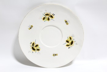 Decorative, Misc, OVERSIZED XL LIGHTWEIGHT TEA SAUCER/PLATE, YELLOW FLOWERS & BEES, PAINTED W/GOLD TRIM, FOAM, WHITE