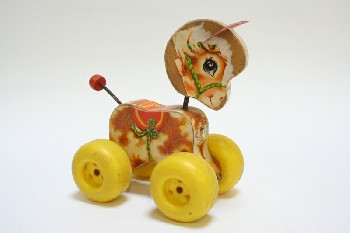 Toy, Animal, VINTAGE PONY ON YELLOW WHEELS, BOBBLE HEAD & TAIL, WOOD, MULTI-COLORED