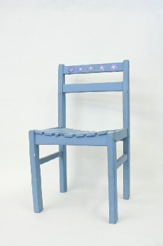 Chair, Child's, SLAT SEAT,HAND PAINTED,FLOWERS ON BACK, WOOD, BLUE