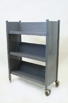 Cart, Library, BOOK CART WITH 3 LEVELS, ROLLING, METAL, BLUE