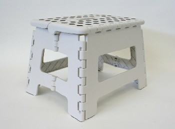 Stool, Stepstool, STEP STOOL,DOTTED GRIP TOP,FOLDING , PLASTIC, WHITE