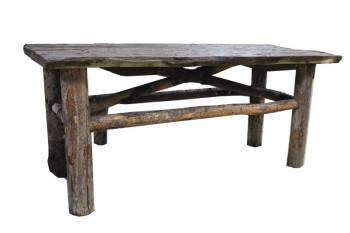 Table, Rustic, 2 PLANK TOP W/UNEVEN EDGE,LOG LEGS & WRAPPED CROSS BARS, RUSTIC, WOOD, BROWN