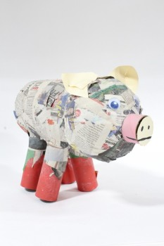 Art, Miscellaneous, PIG,NEWSPAPER,PINK NOSE,GOOGLY EYES,RED FEET, CRAFT PROJECT , PAPER MACHE, MULTI-COLORED