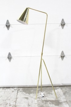 Lighting, Floor Lamp, MODERN,SINGLE FLARED CONICAL SHADE PIVOTS/TILTS, TRIPOD BASE, METAL, GOLD