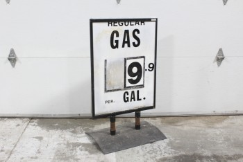 Sign, Gas Station, GAS STATION PRICE SIGN, FREESTANDING, AGED/DISTRESSED *SIGN INCLUDED*, METAL, BLACK